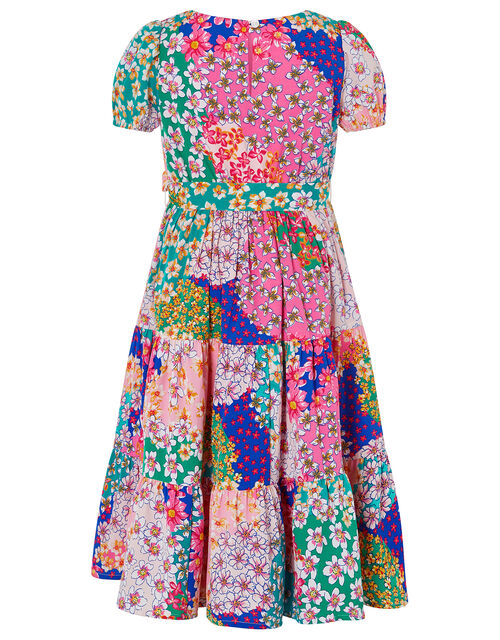 Winnie Contrast Floral Dress in Recycled Polyester, Pink (PINK), large