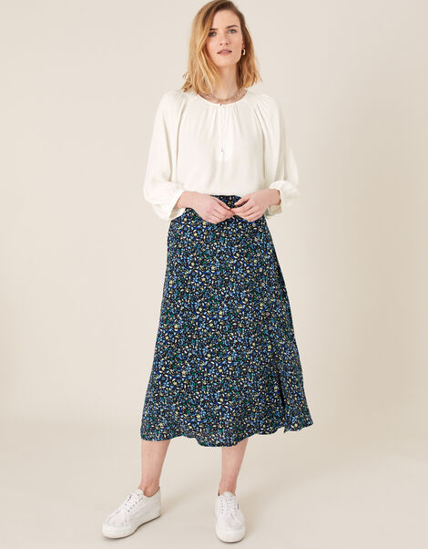Ditsy Print Midi Skirt in Sustainable Viscose Black, Black (BLACK), large