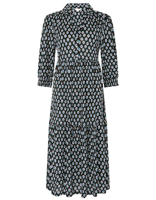 Peacock Print Shirt Dress with Organic Cotton, Black (BLACK), large