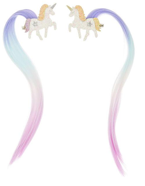 Cosmic Unicorn Faux Hair Clips, , large