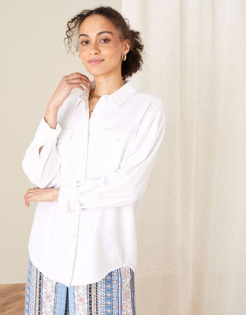 Pocket Shirt in Linen Blend, Ivory (IVORY), large