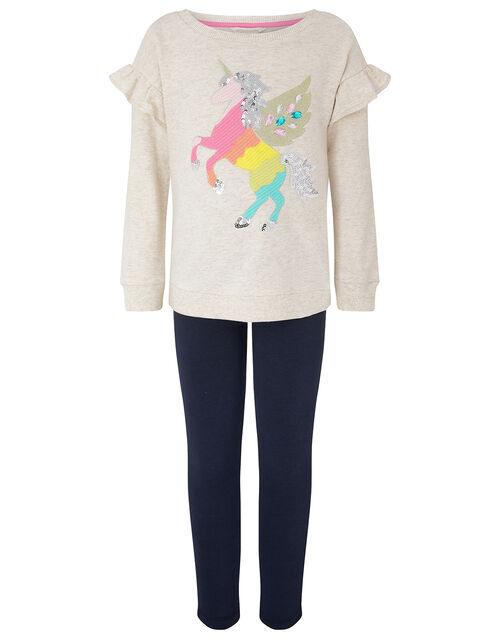 Unicorn Sweatshirt Set in Organic Cotton, Camel (OATMEAL), large