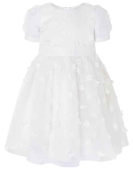 3D Floral Puff Sleeve Dress Ivory, Ivory (IVORY), large