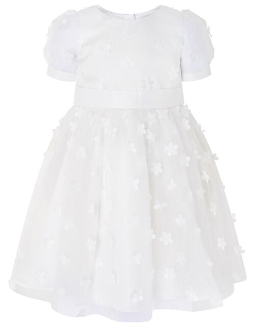 3D Floral Puff Sleeve Dress, Ivory (IVORY), large