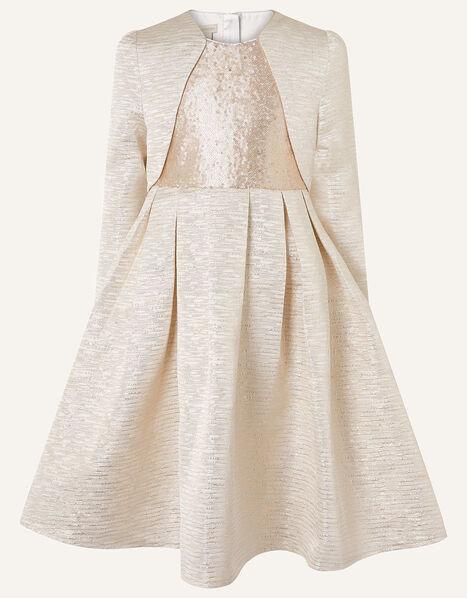 Adelaide Jacquard Dress and Jacket Set  Gold, Gold (GOLD), large