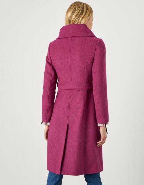 Keryn Wrap Collar Belted Coat, Pink (PINK), large