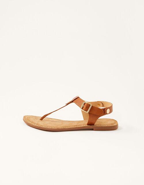 Layla Leather Toe-Post Sandals, Tan (TAN), large