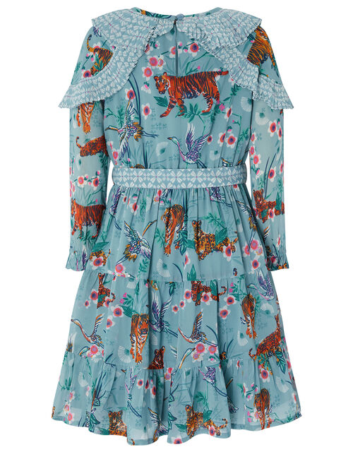 Akira Tiger Print Dress in Recycled Polyester, Blue (AQUA), large