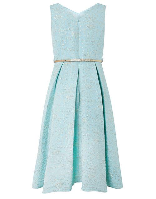 Katerina Metallic Jacquard High-Low Dress, Blue (BLUE), large