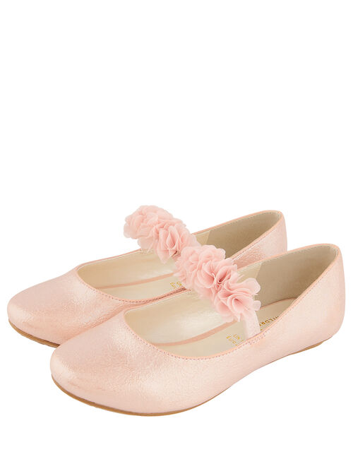 Cynthia Corsage Shimmer Flat Shoes, Pink (PINK), large