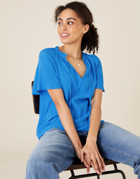 Tie Neck Short Sleeve Blouse Blue, Blue (BLUE), large