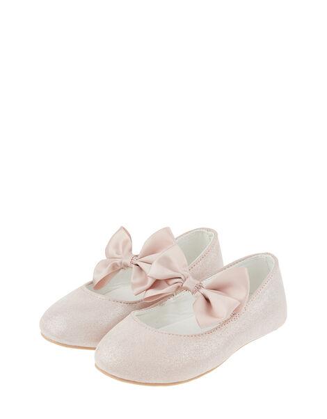 Baby Lottie Shimmer Satin Bow Walker Shoes Pink, Pink (PINK), large