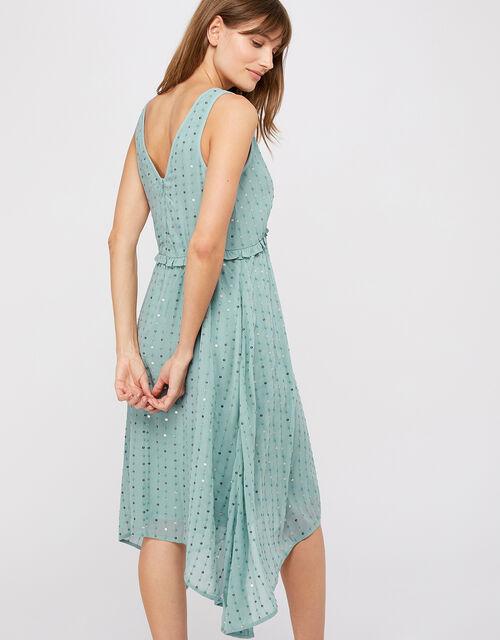 Dottie Sequin Hanky Hem Dress, Blue, large