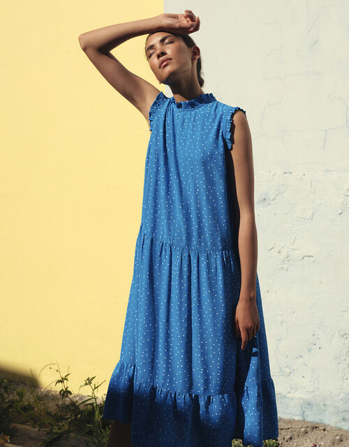 Spot Tiered Midi Dress in LENZING™ ECOVERO™, Blue (BLUE), large