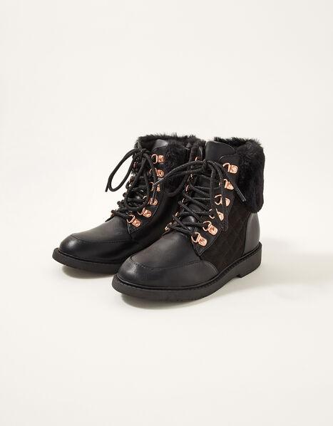 Quilted Fur Trim Lace-Up Boots Black, Black (BLACK), large
