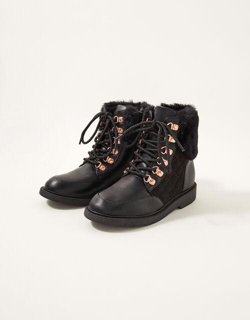 Quilted Fur Trim Lace-Up Boots, Black (BLACK), large