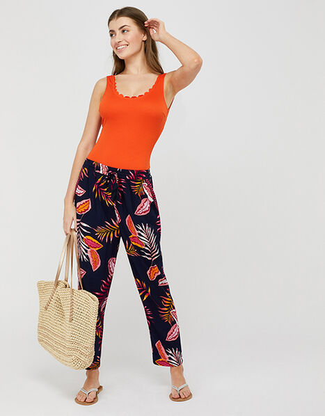 Luma Palm Print Trousers in LENZING™ ECOVERO™ Blue, Blue (NAVY), large