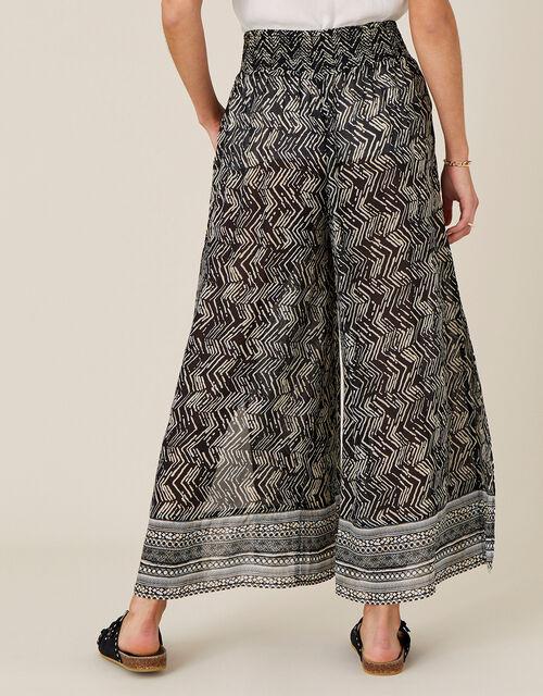 Geo Print Split Side Culottes, Black (BLACK), large