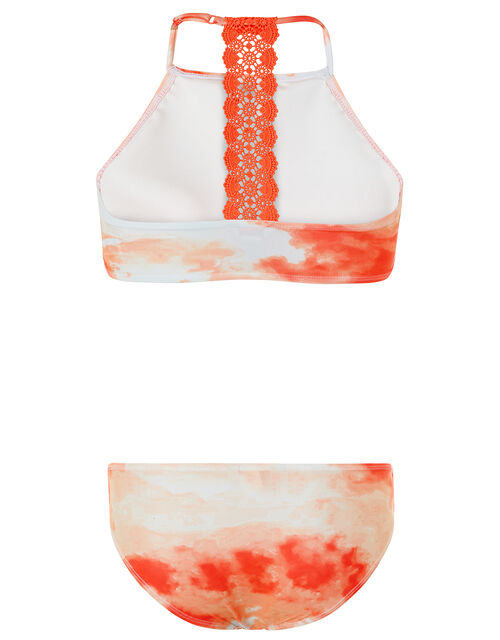 Arianna Tie Dye Crochet Bikini Set with Recycled Polyester, Orange (CORAL), large