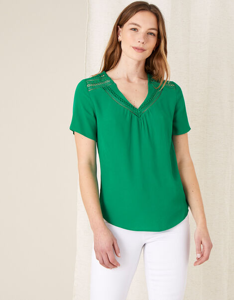 Lace Trim Woven Top Green, Green (GREEN), large