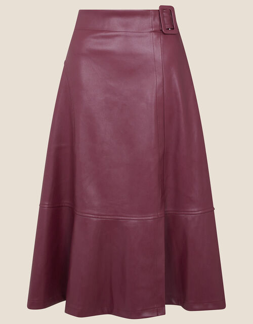 Belted Leather-Look Skirt, Purple (PURPLE), large