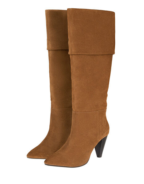 Slouch Suede Thigh Boots Tan, Tan (TAN), large