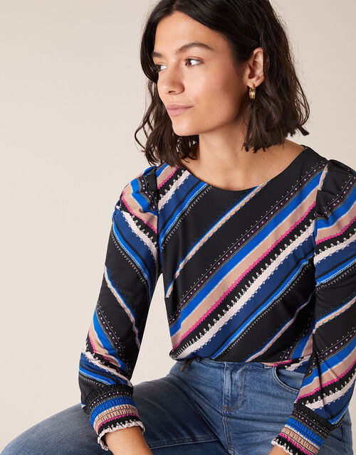 Stripe Print Jersey Top, Black (BLACK), large