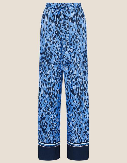 Animal Print Wide Leg Trousers, Blue (BLUE), large