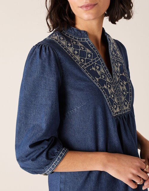 Embroidered Denim Dress, Blue (INDIGO), large