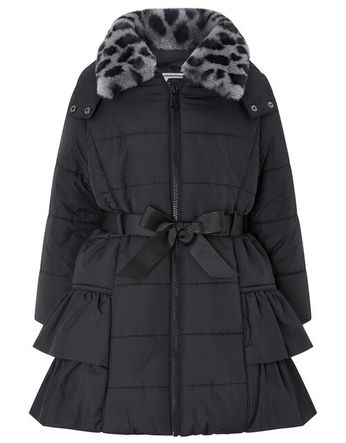 Black Frill Padded Coat with Detachable Faux Fur Collar, Black (BLACK), large