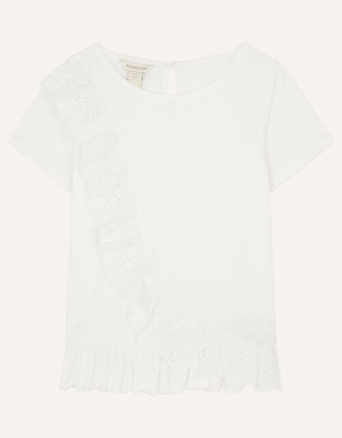 Broderie Frill Top, Ivory (IVORY), large