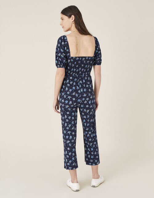 Floss Printed Jumpsuit with Organic Cotton, Blue (NAVY), large
