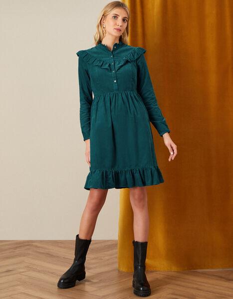 Sordan Plain Frill Cord Dress Teal, Teal (TEAL), large