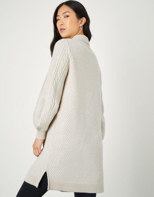 Shawl Collar Cable Knit Cardigan, Cream (CREAM), large