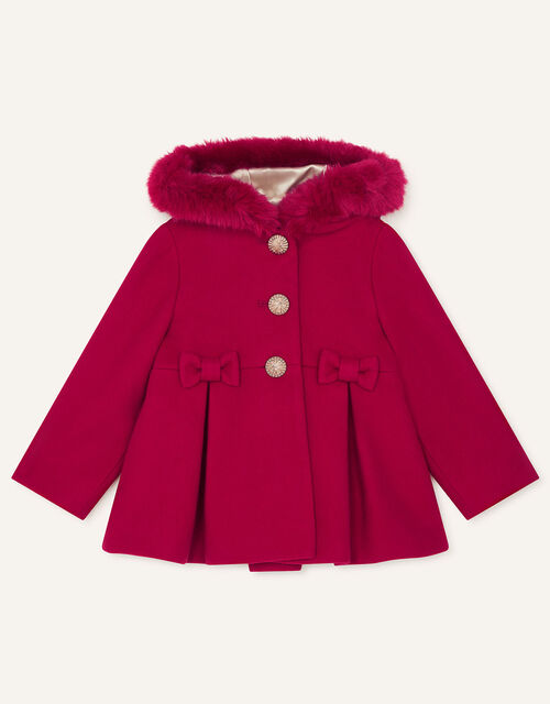 Baby Bow Coat with Hood , Red (RED), large