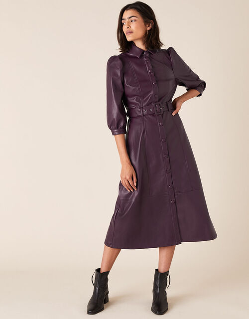 Belted Midi Dress in Recycled PU, Purple (PLUM), large