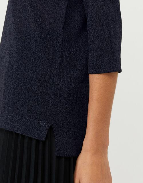 Hannah Henley Collar Top, Blue (NAVY), large