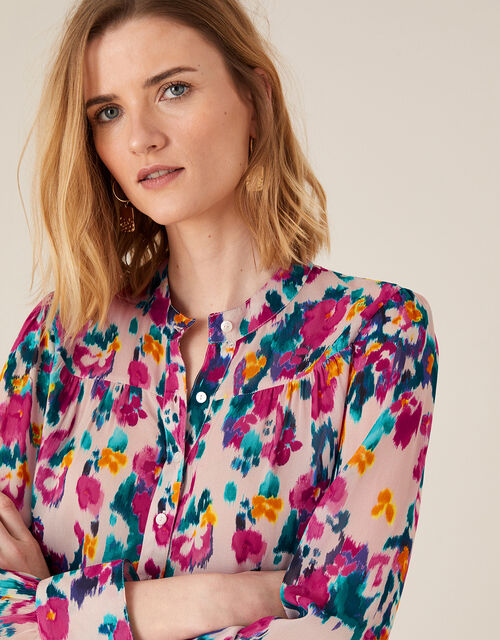 Ellie Blurred Floral Blouse in Sustainable Viscose, Ivory (IVORY), large