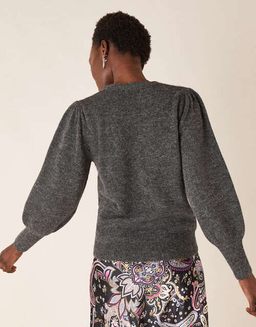 Beaded Knit Cardigan with Recycled Fabric, Grey (CHARCOAL), large