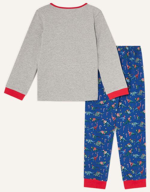 Christmas Dinosaur Pyjama Set, Blue (NAVY), large