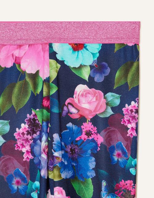 Rose Print Leggings, Blue (NAVY), large