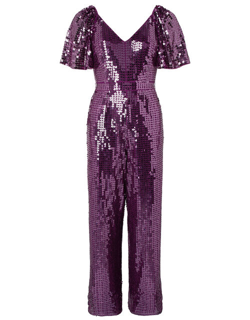 Harriette Heart Sequin Jumpsuit, Purple (PURPLE), large