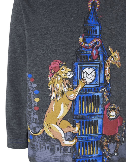 London Animal Long Sleeve T-Shirt, Grey (CHARCOAL), large