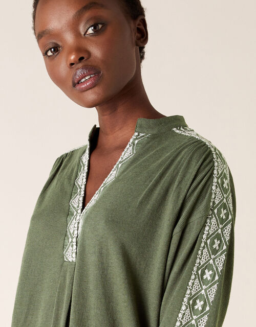 Edie Embroidered Top, Green (KHAKI), large