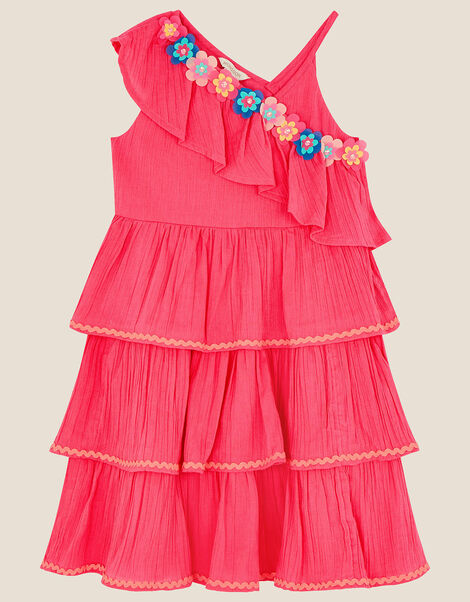 Fiesta Flower Frill Dress Pink, Pink (BRIGHT PINK), large