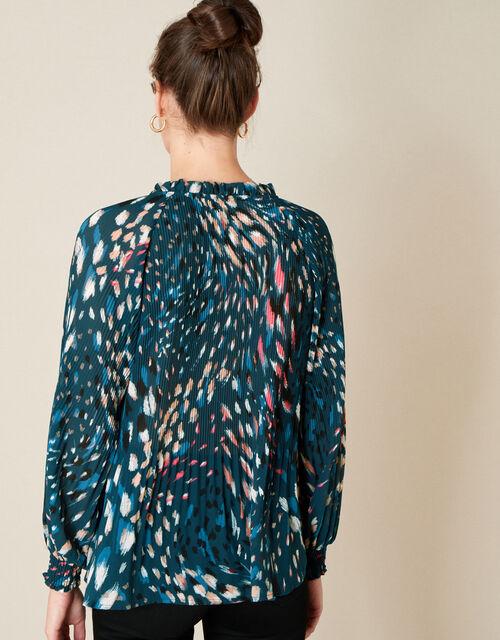 Animal Print Pleated Long Sleeve Top, Teal (TEAL), large