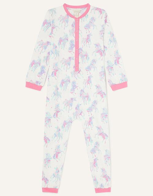 Ada Unicorn Print Sleepsuit, Ivory (IVORY), large