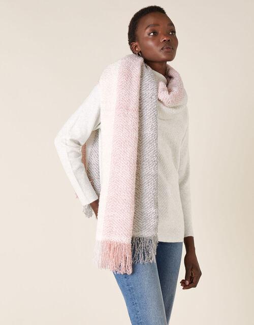 Pastel Colour-Block Knit Blanket Scarf, , large