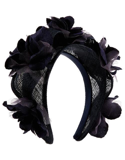 Fifi 3D Flower Headband, Blue (NAVY), large