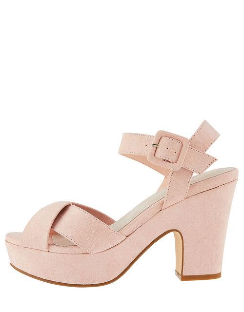 Polly Platform Heeled Sandals, Pink (BLUSH), large